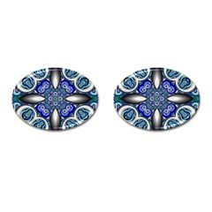 Fractal Cathedral Pattern Mosaic Cufflinks (Oval)