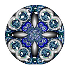 Fractal Cathedral Pattern Mosaic Round Filigree Ornament (2Side)