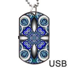 Fractal Cathedral Pattern Mosaic Dog Tag USB Flash (One Side)