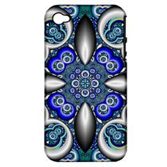 Fractal Cathedral Pattern Mosaic Apple iPhone 4/4S Hardshell Case (PC+Silicone)
