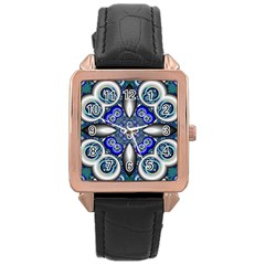 Fractal Cathedral Pattern Mosaic Rose Gold Leather Watch