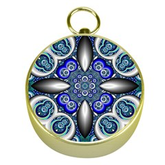 Fractal Cathedral Pattern Mosaic Gold Compasses