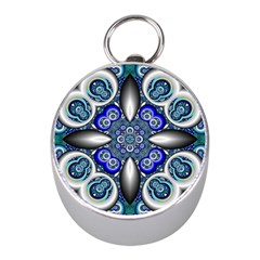 Fractal Cathedral Pattern Mosaic Mini Silver Compasses