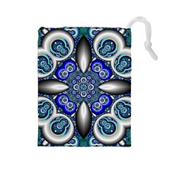 Fractal Cathedral Pattern Mosaic Drawstring Pouches (Large)