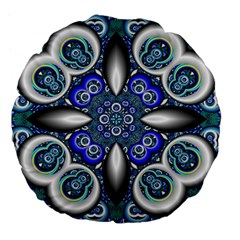 Fractal Cathedral Pattern Mosaic Large 18  Premium Flano Round Cushions