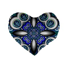 Fractal Cathedral Pattern Mosaic Standard 16  Premium Flano Heart Shape Cushions
