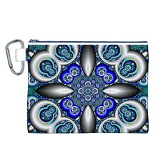Fractal Cathedral Pattern Mosaic Canvas Cosmetic Bag (L)