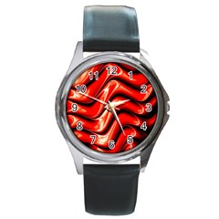 Fractal Mathematics Abstract Round Metal Watch