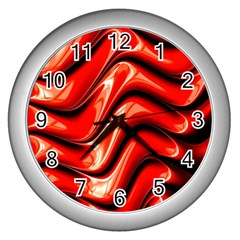 Fractal Mathematics Abstract Wall Clocks (Silver)