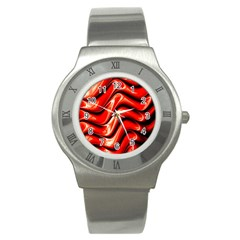 Fractal Mathematics Abstract Stainless Steel Watch