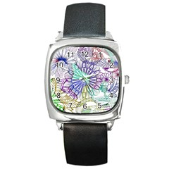 Zentangle Mix 1116a Square Metal Watch