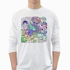 Zentangle Mix 1116a White Long Sleeve T-Shirts