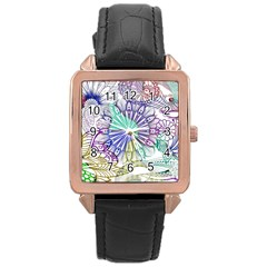 Zentangle Mix 1116a Rose Gold Leather Watch