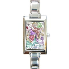 Zentangle Mix 1116b Rectangle Italian Charm Watch