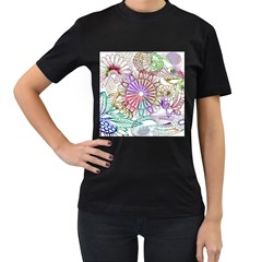 Zentangle Mix 1116b Women s T-Shirt (Black) (Two Sided)