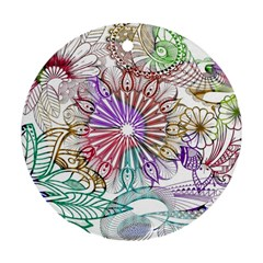 Zentangle Mix 1116b Round Ornament (Two Sides)