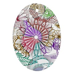 Zentangle Mix 1116b Oval Ornament (Two Sides)