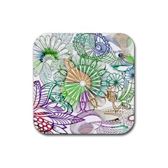 Zentangle Mix 1116c Rubber Square Coaster (4 pack)