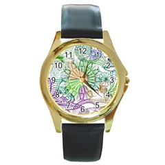 Zentangle Mix 1116c Round Gold Metal Watch