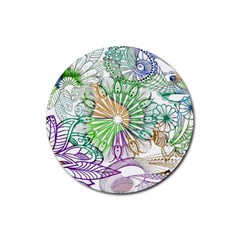 Zentangle Mix 1116c Rubber Round Coaster (4 pack)