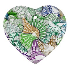 Zentangle Mix 1116c Heart Ornament (2 Sides)