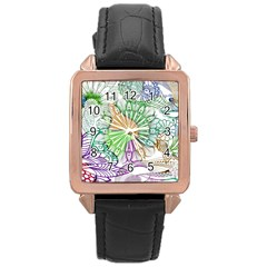 Zentangle Mix 1116c Rose Gold Leather Watch