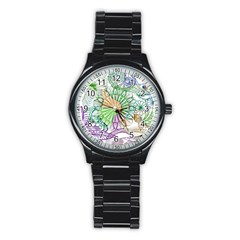 Zentangle Mix 1116c Stainless Steel Round Watch