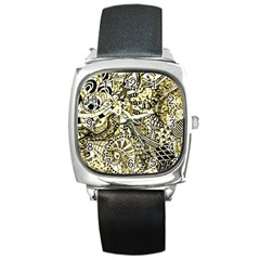 Zentangle Mix 1216a Square Metal Watch
