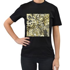 Zentangle Mix 1216a Women s T-Shirt (Black) (Two Sided)