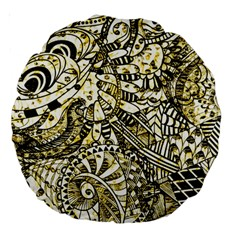 Zentangle Mix 1216a Large 18  Premium Round Cushions