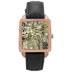 Zentangle Mix 1216a Rose Gold Leather Watch