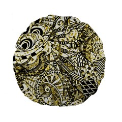 Zentangle Mix 1216a Standard 15  Premium Flano Round Cushions