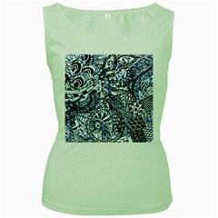 Zentangle Mix 1216b Women s Green Tank Top