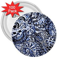 Zentangle Mix 1216b 3  Buttons (100 pack)