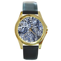 Zentangle Mix 1216b Round Gold Metal Watch