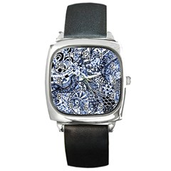 Zentangle Mix 1216b Square Metal Watch