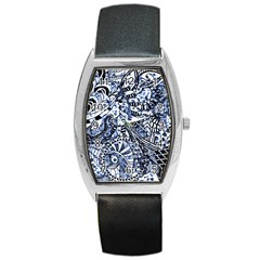 Zentangle Mix 1216b Barrel Style Metal Watch