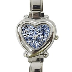 Zentangle Mix 1216b Heart Italian Charm Watch