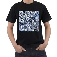 Zentangle Mix 1216b Men s T-Shirt (Black) (Two Sided)