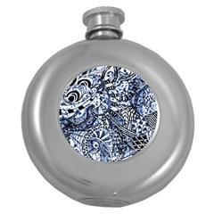 Zentangle Mix 1216b Round Hip Flask (5 oz)