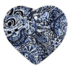 Zentangle Mix 1216b Heart Ornament (2 Sides)