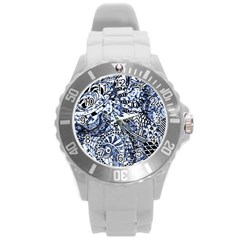 Zentangle Mix 1216b Round Plastic Sport Watch (L)