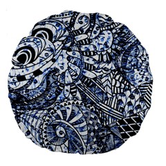 Zentangle Mix 1216b Large 18  Premium Round Cushions