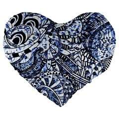 Zentangle Mix 1216b Large 19  Premium Heart Shape Cushions