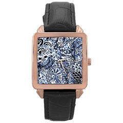 Zentangle Mix 1216b Rose Gold Leather Watch