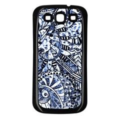 Zentangle Mix 1216b Samsung Galaxy S3 Back Case (Black)
