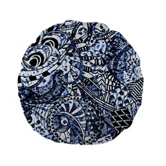 Zentangle Mix 1216b Standard 15  Premium Flano Round Cushions