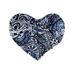 Zentangle Mix 1216b Standard 16  Premium Flano Heart Shape Cushions