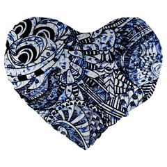 Zentangle Mix 1216b Large 19  Premium Flano Heart Shape Cushions