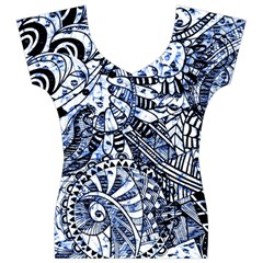 Zentangle Mix 1216b Women s V-Neck Cap Sleeve Top